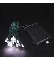 Outdoor Battery Operated Christmas Lights - Ice White on Green Cable