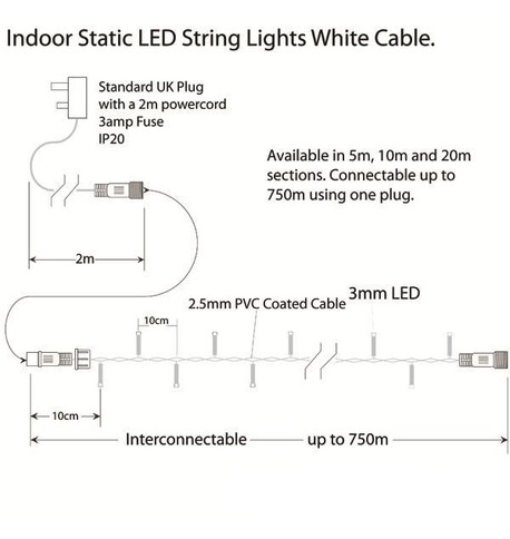 Indoor LED String Lights Static Ice White on White Cable Ice White on White Cable