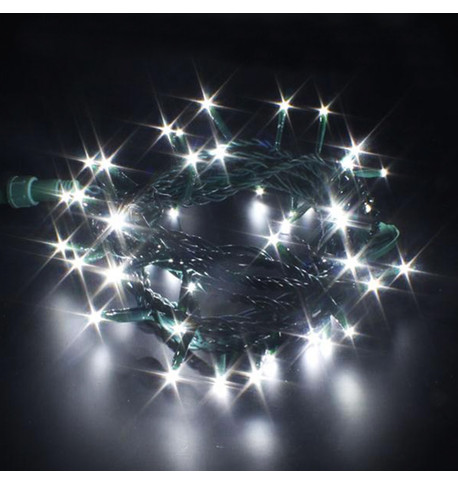Indoor LED String Lights Static Ice White on Green Cable Ice White on Green Cable