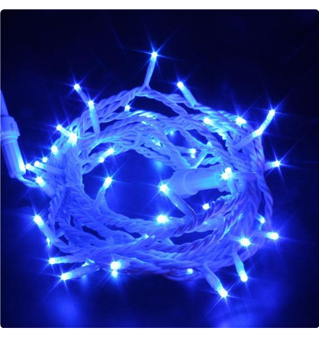 Indoor LED String Lights Static Blue on White Cable Blue on White Cable