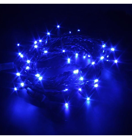 Indoor LED String Lights Static Blue on Green Cable Blue on Green Cable