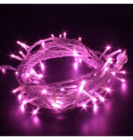 Indoor LED String Lights Static Pink on White Cable Pink on White Cable