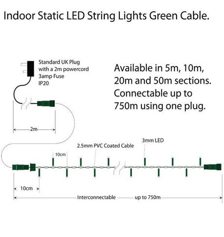 Indoor LED String Lights Static Warm White on Green Cable Warm White On Green Cable