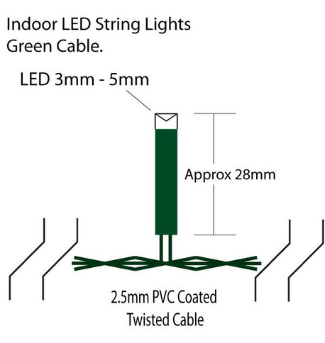 Indoor LED String Lights - Multi Function Warm White On Green Cable