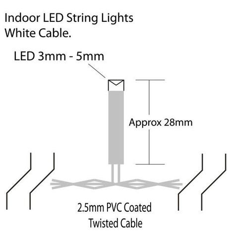 Indoor LED String Lights - Flashing Warm White on White Cable