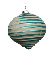 Turquoise Ribbed Glass Onion - Silver