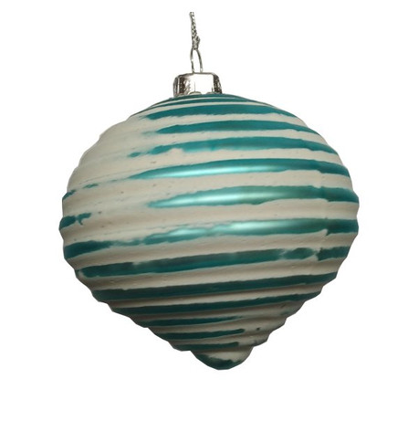 Turquoise Ribbed Glass Onion Silver