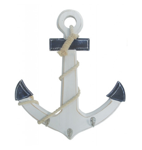 Wooden Anchor Blue and White