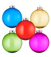 Clear tinted baubles multipack of 10 - Multicolour