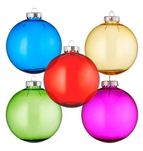 Clear tinted baubles multipack of 10 Multicoloured