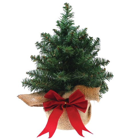 Mini Artificial Christmas Tree with Woven Bag Green