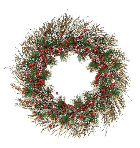 Frosted Twig and Berry Wreath White