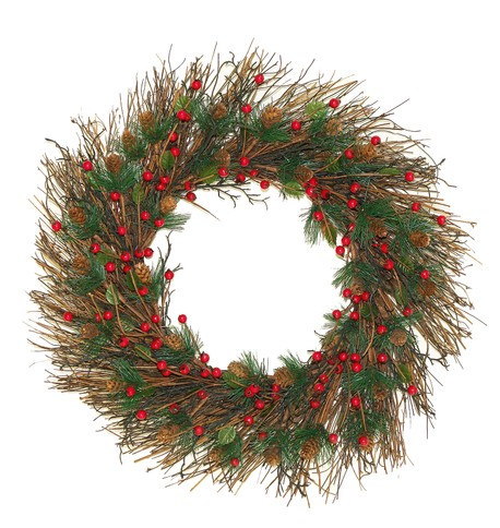 Twig and Berry Wreath Green & Red