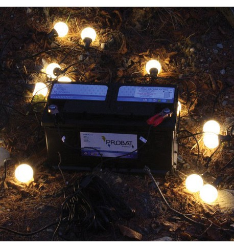 Battery Powered Festoons Warm White on Black