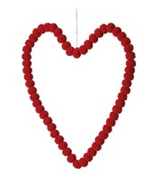 Pompom Hearts - RED 40cm - Red