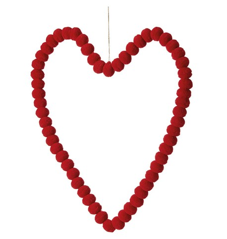 Pompom Hearts - RED 40cm Red