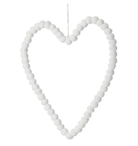 Pompom Hearts - WHITE 40cm White