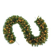 Pre Lit Sable Fir Garland - Green