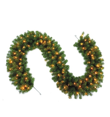 Pre Lit Sable Fir Garland Green