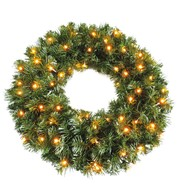 Pre Lit Sable Fir Wreath - Available 1st Sept - Green