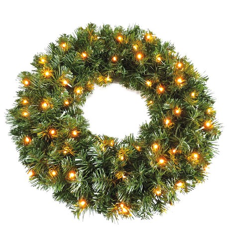 Pre Lit Sable Fir Wreath Green