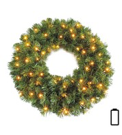 Pre Lit Battery Powered Sable Fir Wreath - Available 1st Sept - Green
