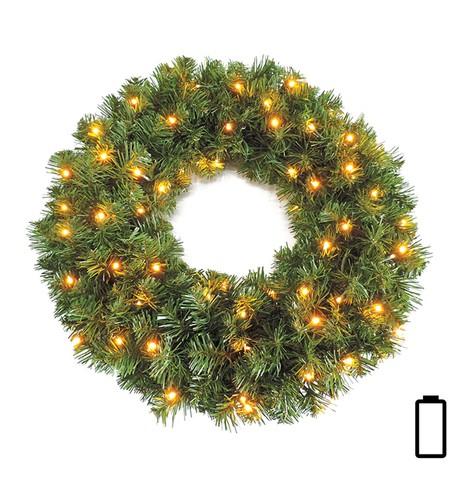 Pre Lit Battery Powered Sable Fir Wreath Green