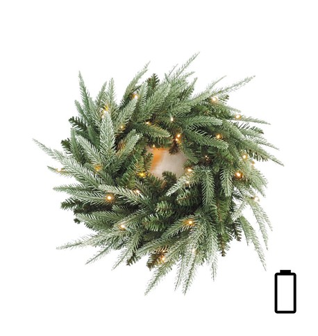 Pre Lit Battery Powered Colorado Wreath (available 27th November) Green