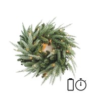 Pre Lit Battery Powered Colorado Wreath with Timer - Available 1st Sept - Green