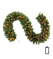 Pre Lit Battery Powered Heavy Sable Fir Garland  - Green