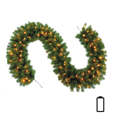 Pre Lit Battery Powered Heavy Sable Fir Garland  Green