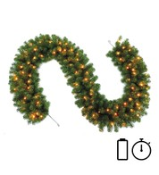 Pre Lit Battery Powered Heavy Sable Fir Garland with Timer - Available 1st Sept - Green