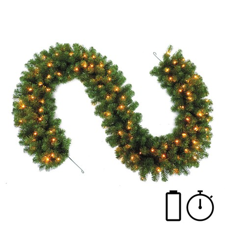 Pre Lit Battery Powered Heavy Sable Fir Garland with Timer Green