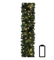 Plain Pre Lit Battery Powered Spruce Garland - Green