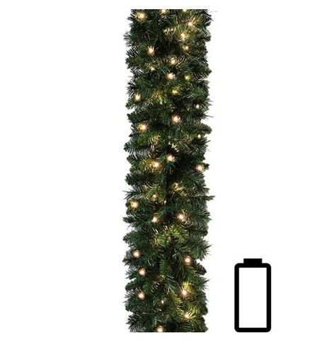 Plain Pre Lit Battery Powered Spruce Garland Green
