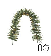 Pre Lit Battery Powered Long Colorado Garland with Timer - Green