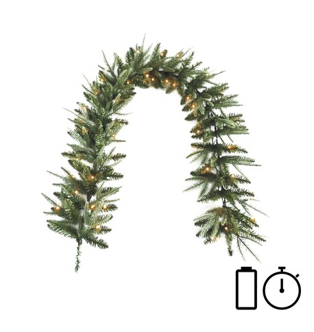 Pre Lit Battery Powered Long Colorado Garland with Timer Green