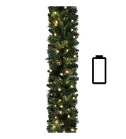 Pre Lit Battery Powered Sable Fir Garland 5.5m Standard Weight - Green