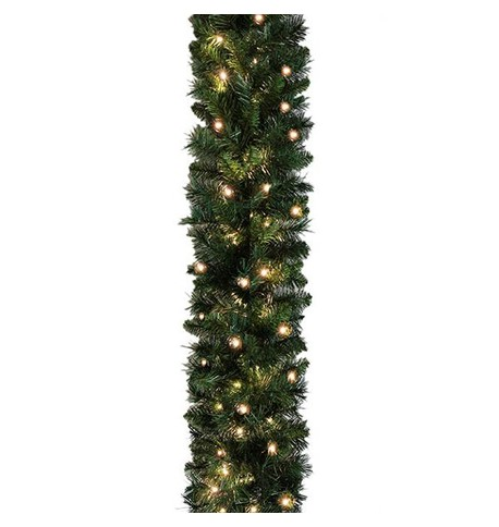 Pre Lit Sable Fir Garland 5.5m Standard Weight Green