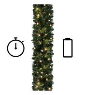 Pre Lit Sable Fir Garland - 5.5m - Standard Weight - Battery Powered with Timer - Green