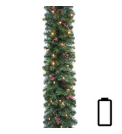 Pre Lit Battery Powered Pine and Berry Garland - Green