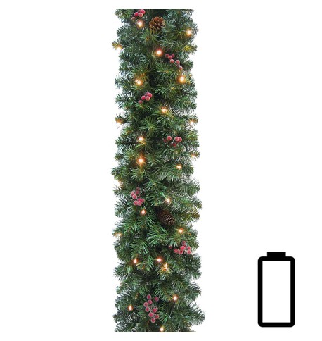 Pre Lit Battery Powered Pine and Berry Garland Green