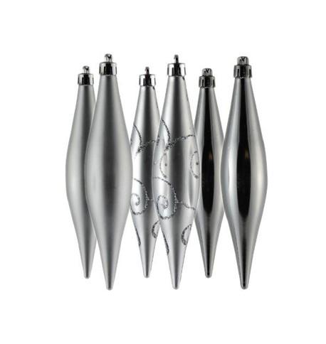 150mm Silver Drop Baubles Silver