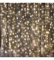 Indoor Curtain Lights - Warm White on Green Cable - Warm White on Green Cable