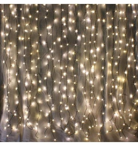 Indoor Curtain Lights - Warm White on Green Cable Warm White on Green Cable