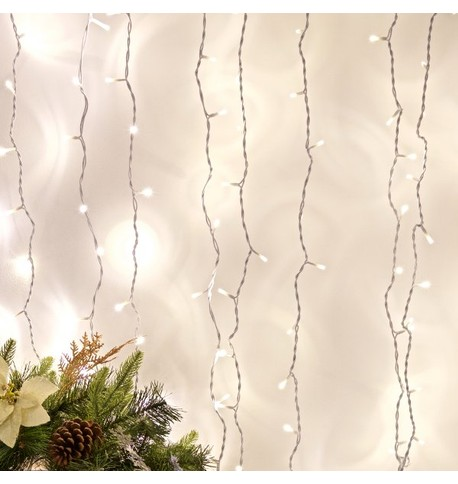 Indoor Curtain Lights - Ice White on White Cable Ice White on White Cable