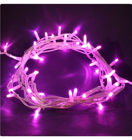 Outdoor String Lights - Pro Series (Static) Pink on White Cable