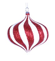 ONION BAUBLE - GLITTER STRIPES - Red and White