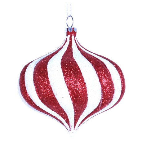 ONION BAUBLE - GLITTER STRIPES Red And White