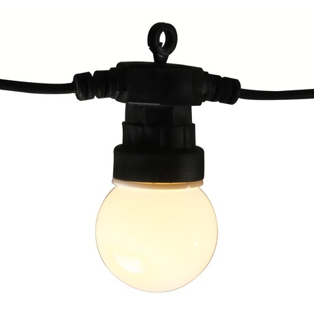 Connectable LED Festoon Lights - Warm White on Black Cable White